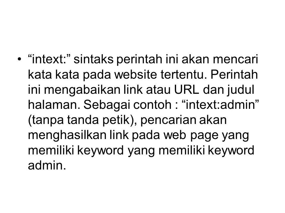 intext: sintaks perintah ini akan mencari kata kata pada website tertentu.