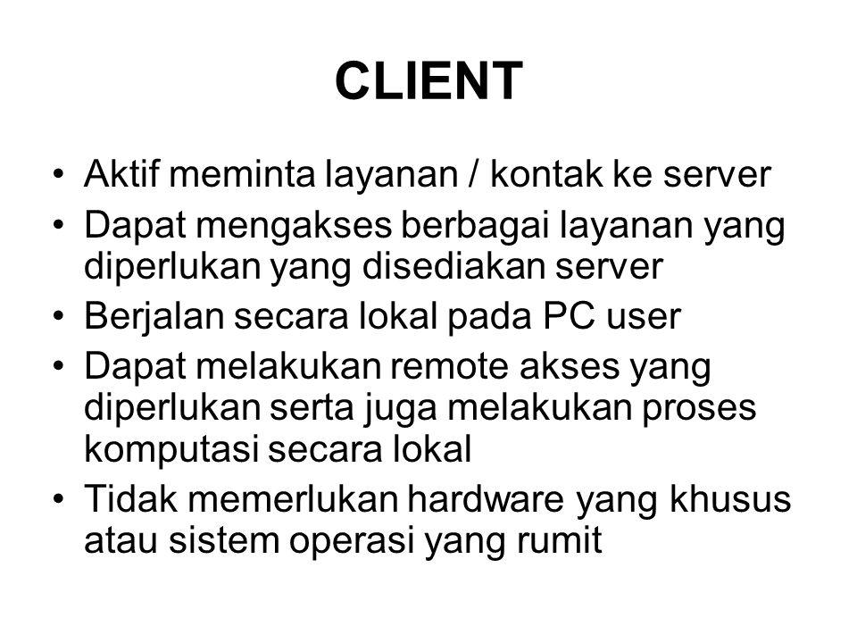 CLIENT Aktif meminta layanan / kontak ke server