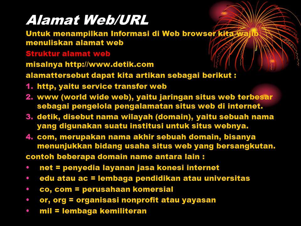Alamat Web/URL Untuk menampilkan Informasi di Web browser kita wajib menuliskan alamat web. Struktur alamat web.