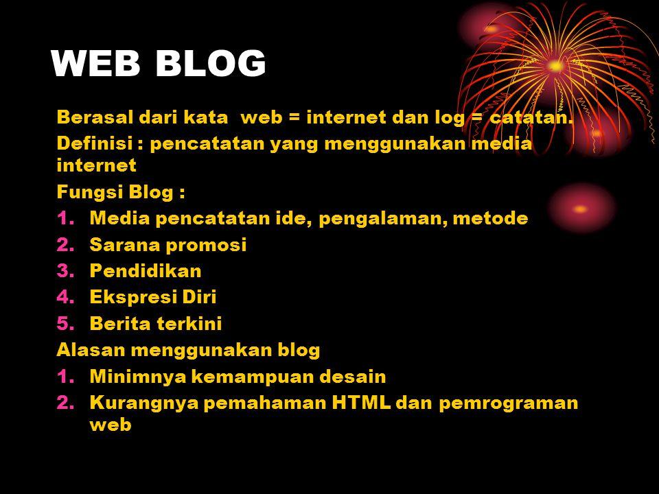 WEB BLOG Berasal dari kata web = internet dan log = catatan.