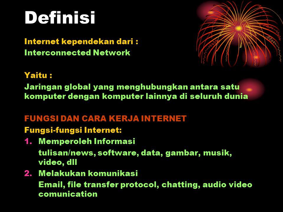 Definisi Internet kependekan dari : Interconnected Network Yaitu :