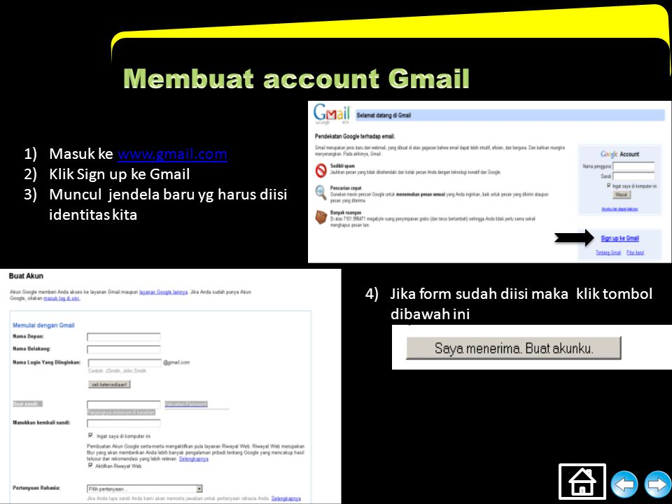 Membuat account Gmail Masuk ke www.gmail.com Klik Sign up ke Gmail