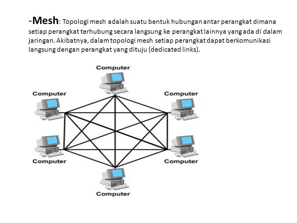 Mesh: Topologi mesh adalah suatu bentuk hubungan antar perangkat dimana setiap perangkat terhubung secara langsung ke perangkat lainnya yang ada di dalam jaringan.