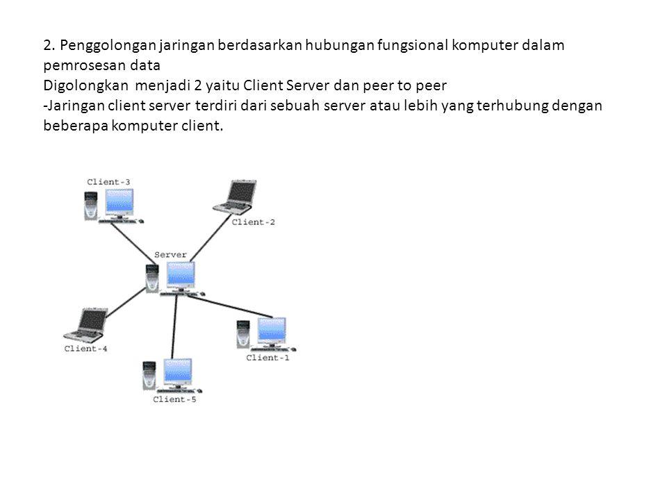 2. Penggolongan jaringan berdasarkan hubungan fungsional komputer dalam pemrosesan data