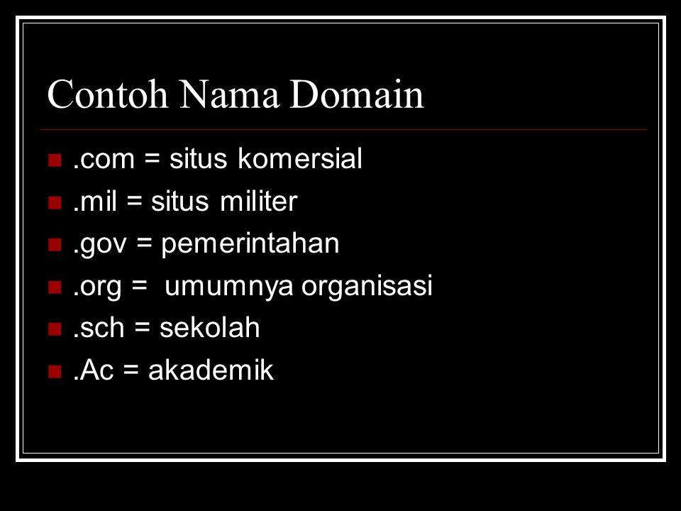 Contoh Nama Domain .com = situs komersial .mil = situs militer