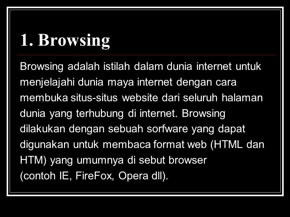 1. Browsing Browsing adalah istilah dalam dunia internet untuk