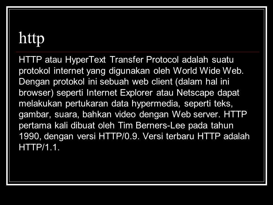 http HTTP atau HyperText Transfer Protocol adalah suatu