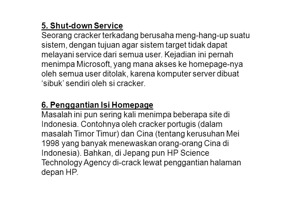 5. Shut-down Service