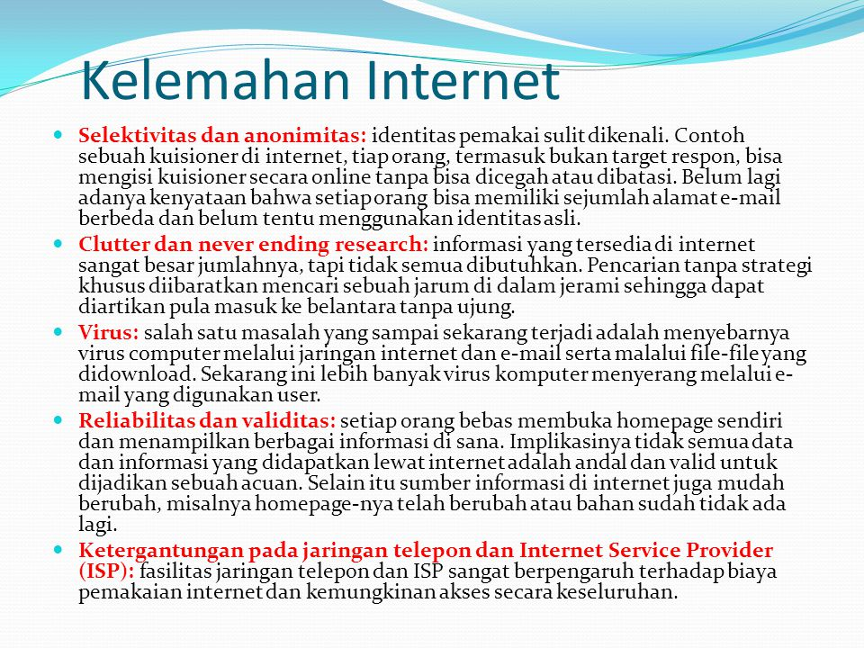 Kelemahan Internet