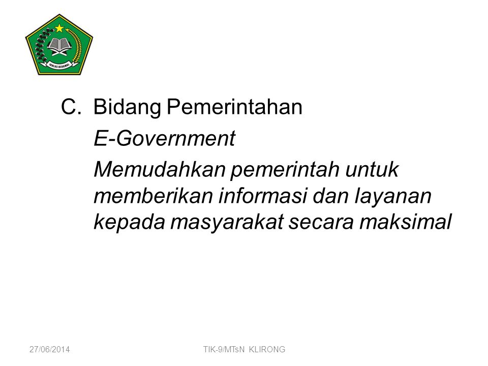 Bidang Pemerintahan E-Government