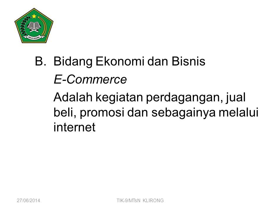 Bidang Ekonomi dan Bisnis E-Commerce