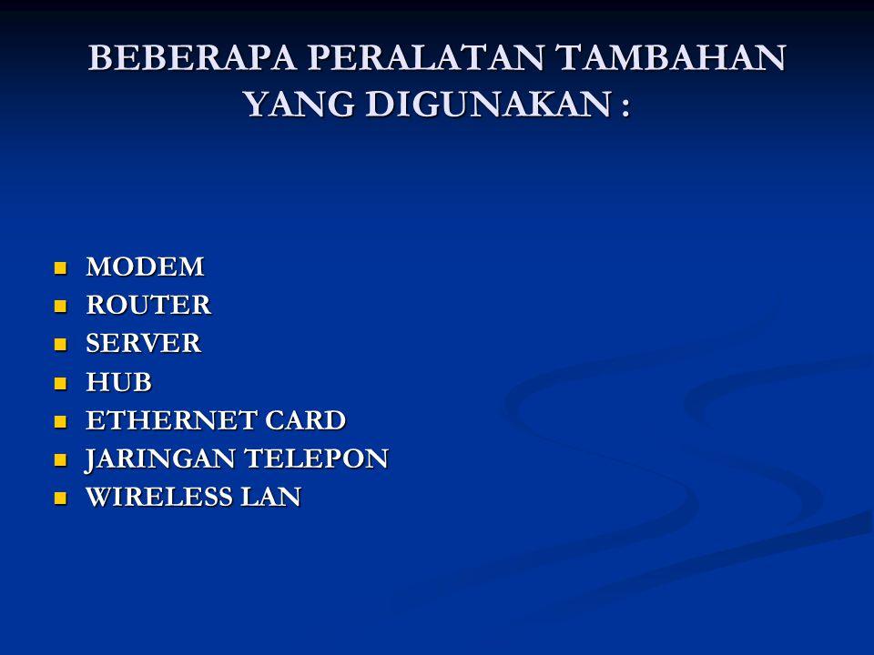 BEBERAPA PERALATAN TAMBAHAN YANG DIGUNAKAN :