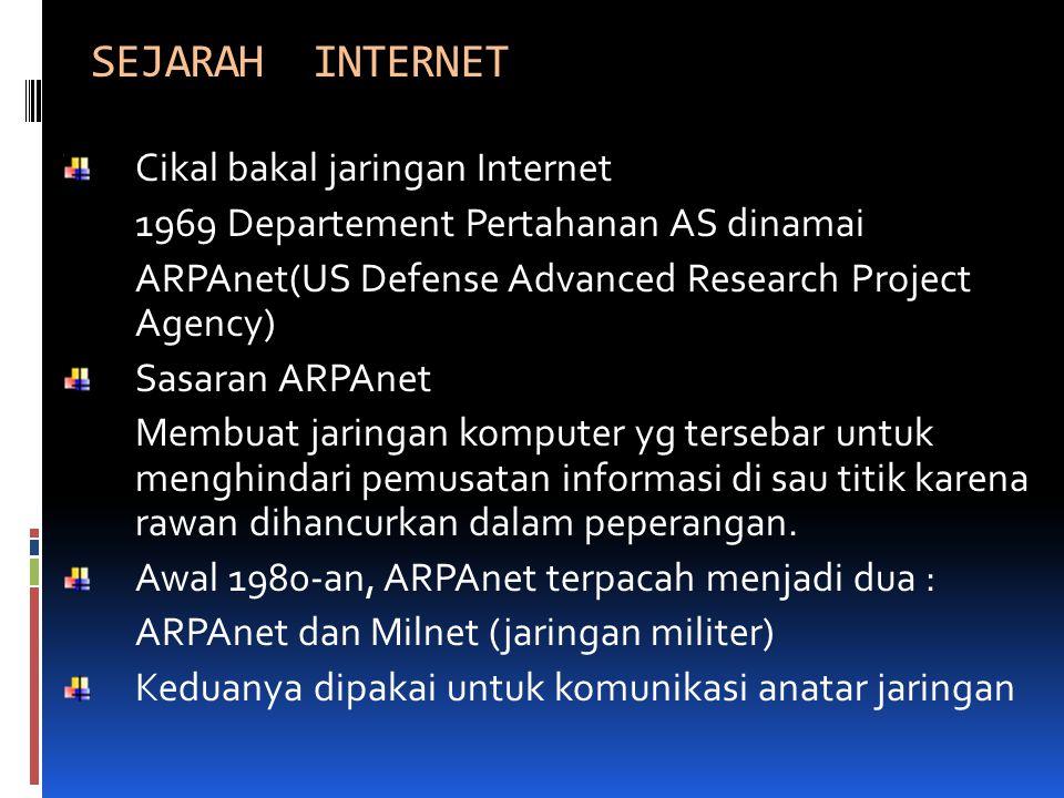 SEJARAH INTERNET Cikal bakal jaringan Internet