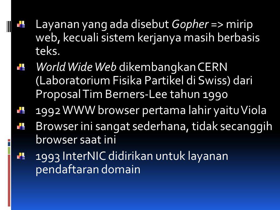 Layanan yang ada disebut Gopher => mirip web, kecuali sistem kerjanya masih berbasis teks.