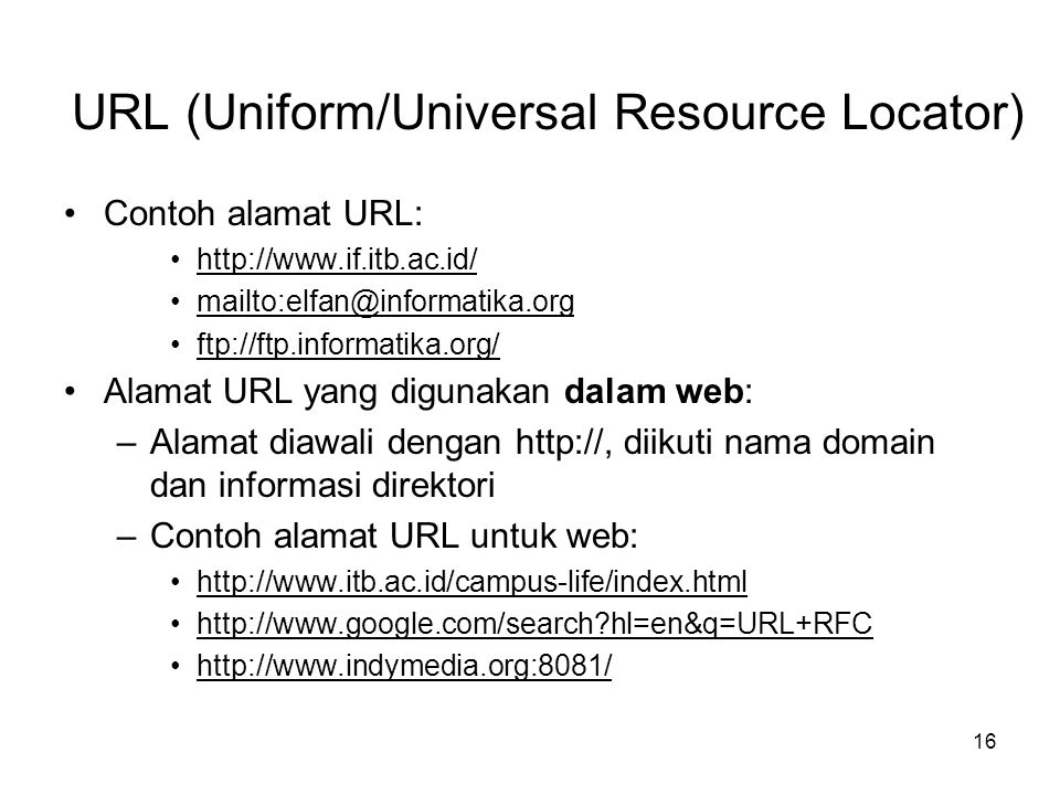 URL (Uniform/Universal Resource Locator)