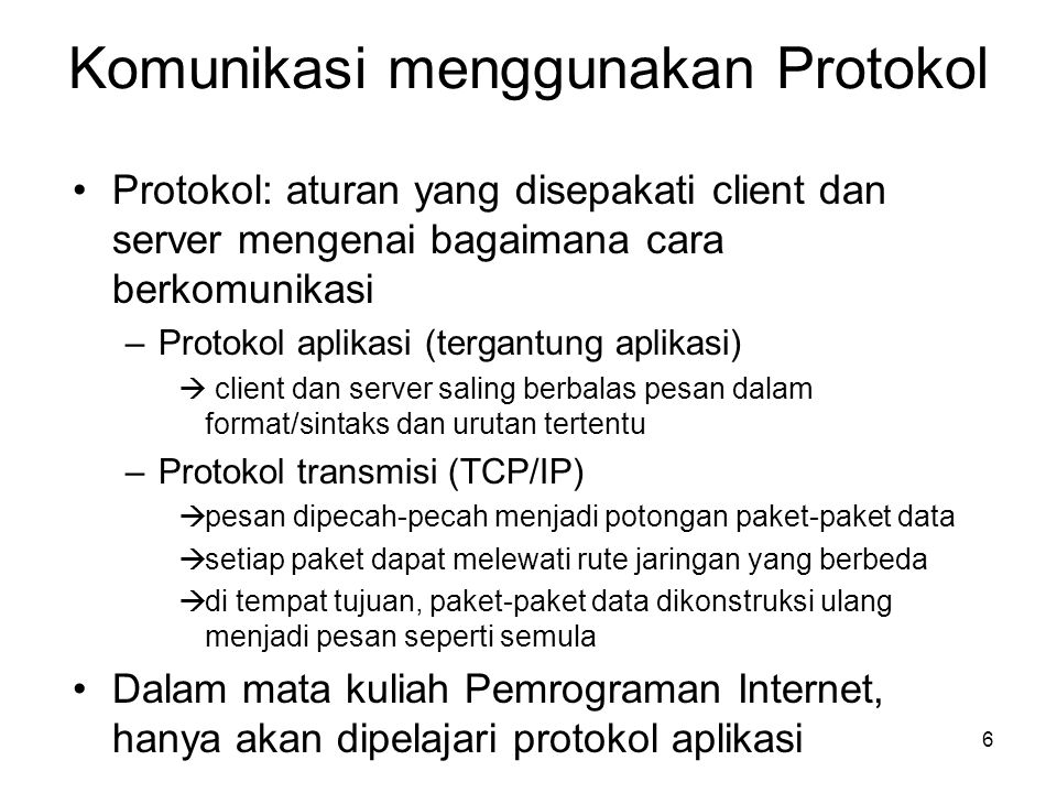 Komunikasi menggunakan Protokol