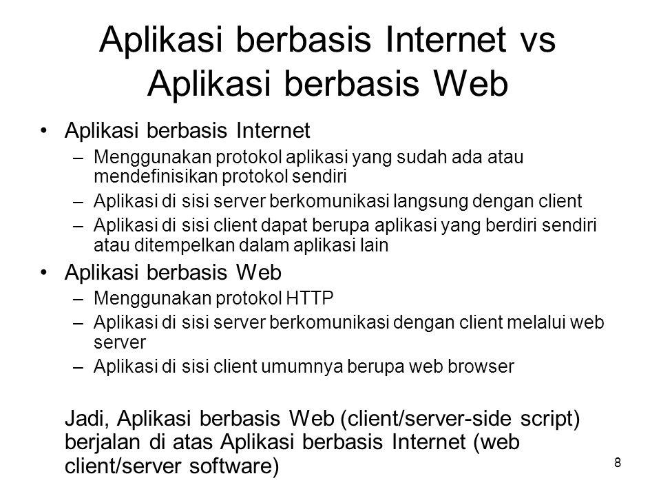Aplikasi berbasis Internet vs Aplikasi berbasis Web