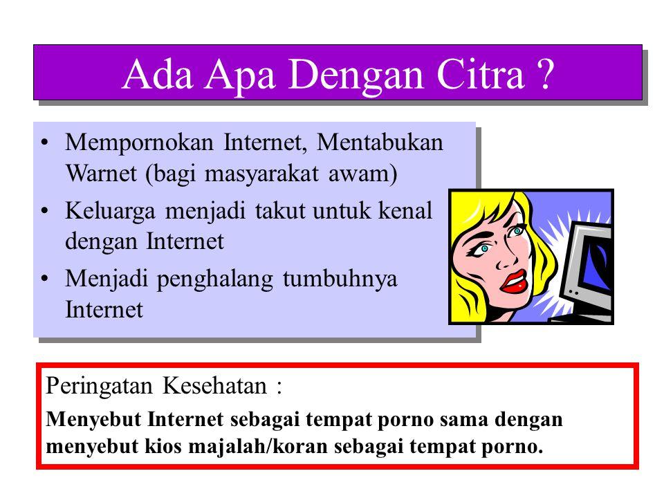 Ada Apa Dengan Citra Mempornokan Internet, Mentabukan Warnet (bagi masyarakat awam) Keluarga menjadi takut untuk kenal dengan Internet.