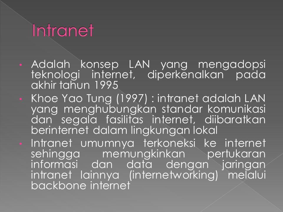 Intranet Adalah konsep LAN yang mengadopsi teknologi internet, diperkenalkan pada akhir tahun 1995.