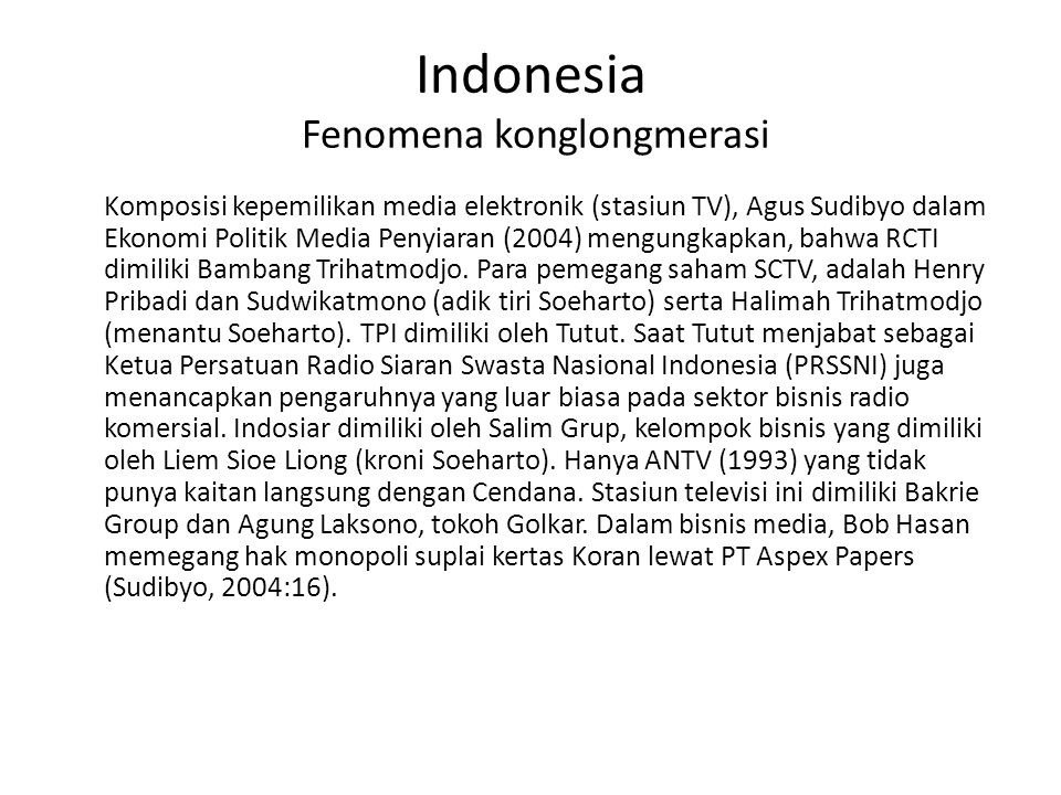 Indonesia Fenomena konglongmerasi
