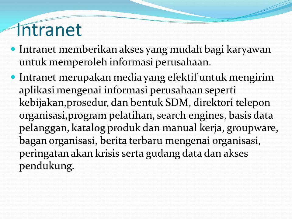 Intranet Intranet memberikan akses yang mudah bagi karyawan untuk memperoleh informasi perusahaan.