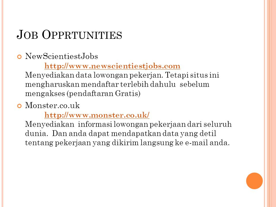 Job Opprtunities