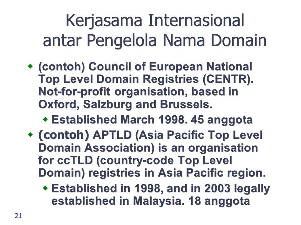 Kerjasama Internasional antar Pengelola Nama Domain