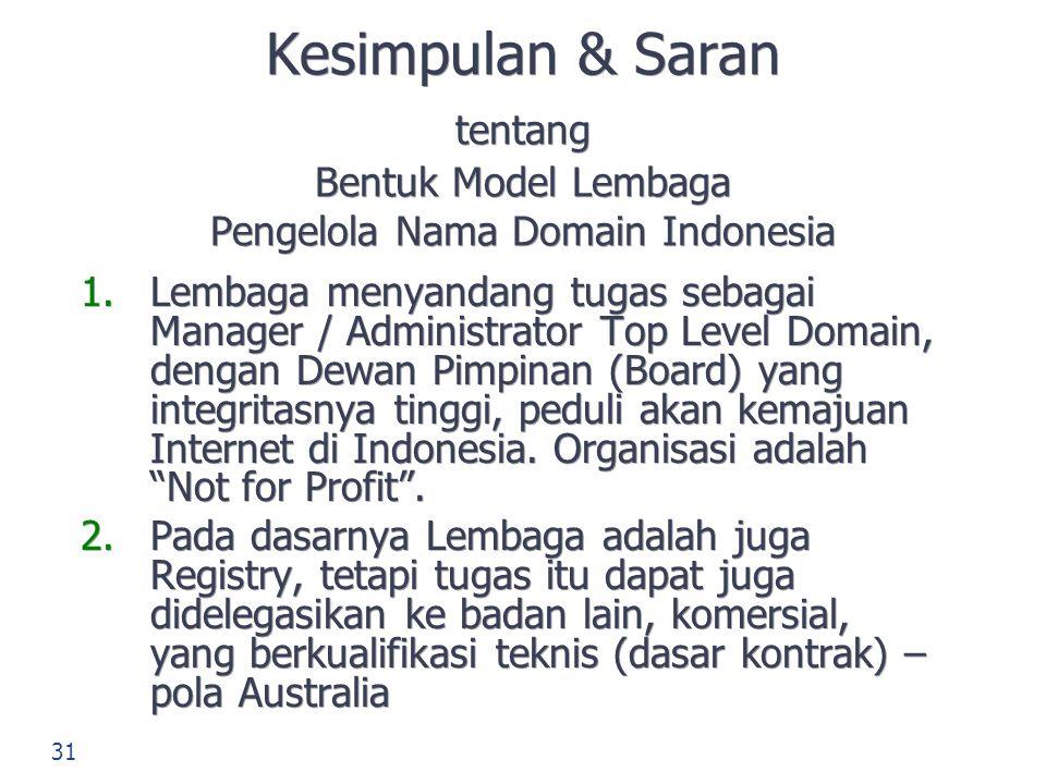 Kesimpulan & Saran tentang Bentuk Model Lembaga Pengelola Nama Domain Indonesia