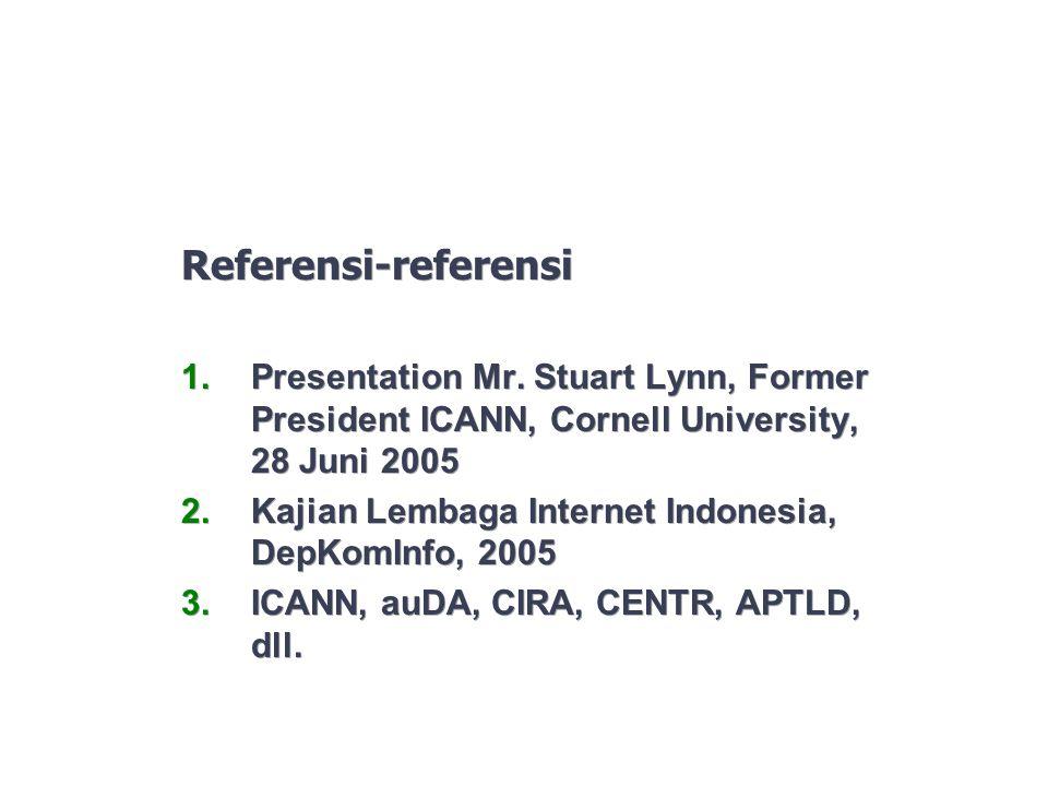 Referensi-referensi Presentation Mr. Stuart Lynn, Former President ICANN, Cornell University, 28 Juni 2005.