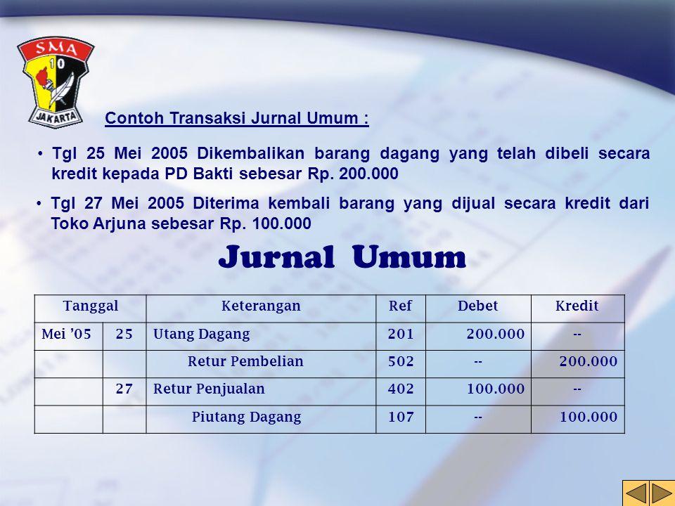 Jurnal Umum Contoh Transaksi Jurnal Umum :