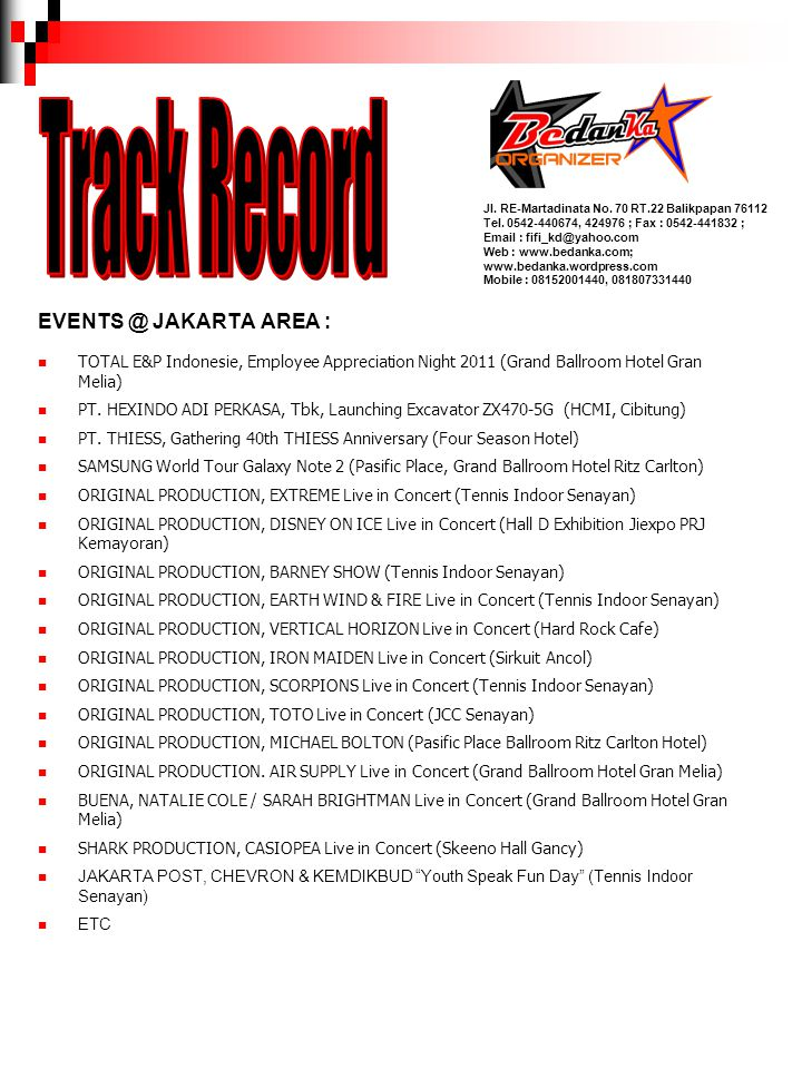 Track Record EVENTS @ JAKARTA AREA :