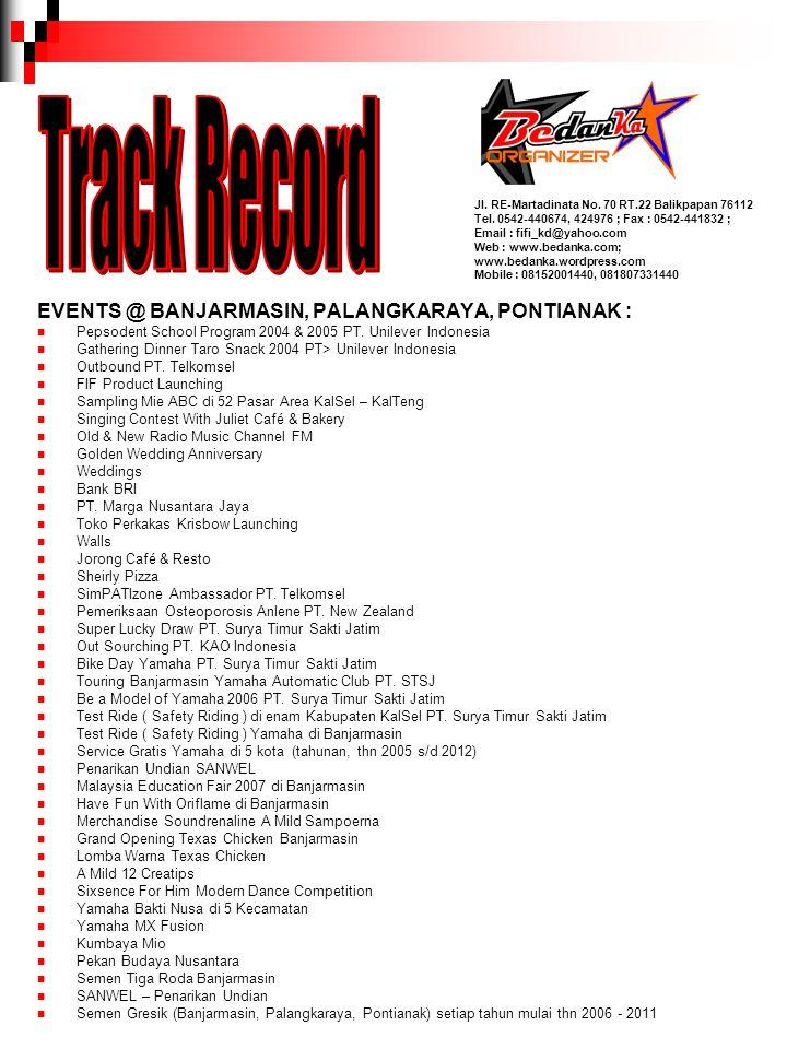 Track Record EVENTS @ BANJARMASIN, PALANGKARAYA, PONTIANAK :