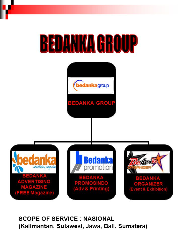 BEDANKA GROUP SCOPE OF SERVICE : NASIONAL
