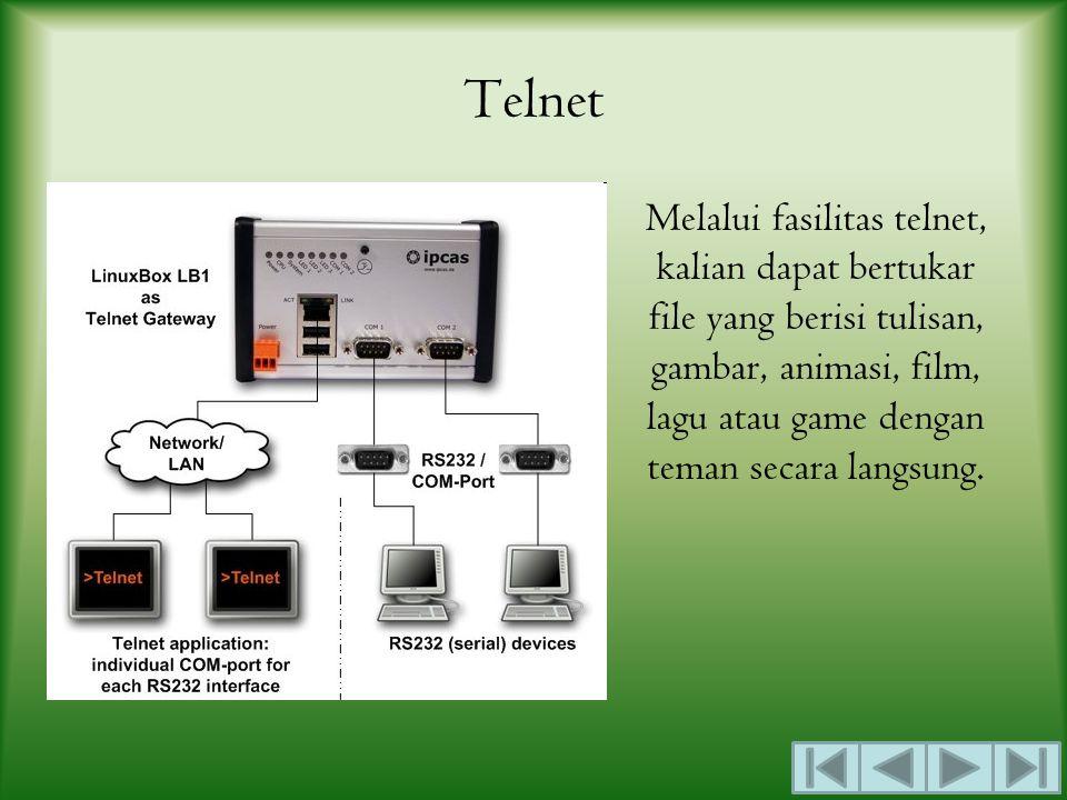 Telnet Melalui fasilitas telnet, kalian dapat bertukar file yang berisi tulisan, gambar, animasi, film, lagu atau game dengan teman secara langsung.