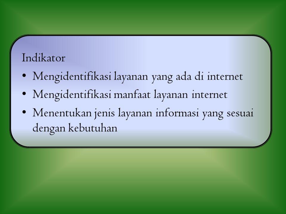 Indikator Mengidentifikasi layanan yang ada di internet. Mengidentifikasi manfaat layanan internet.