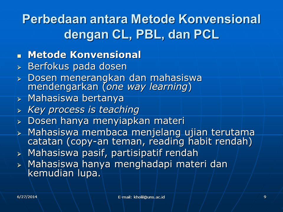 Perbedaan antara Metode Konvensional dengan CL, PBL, dan PCL