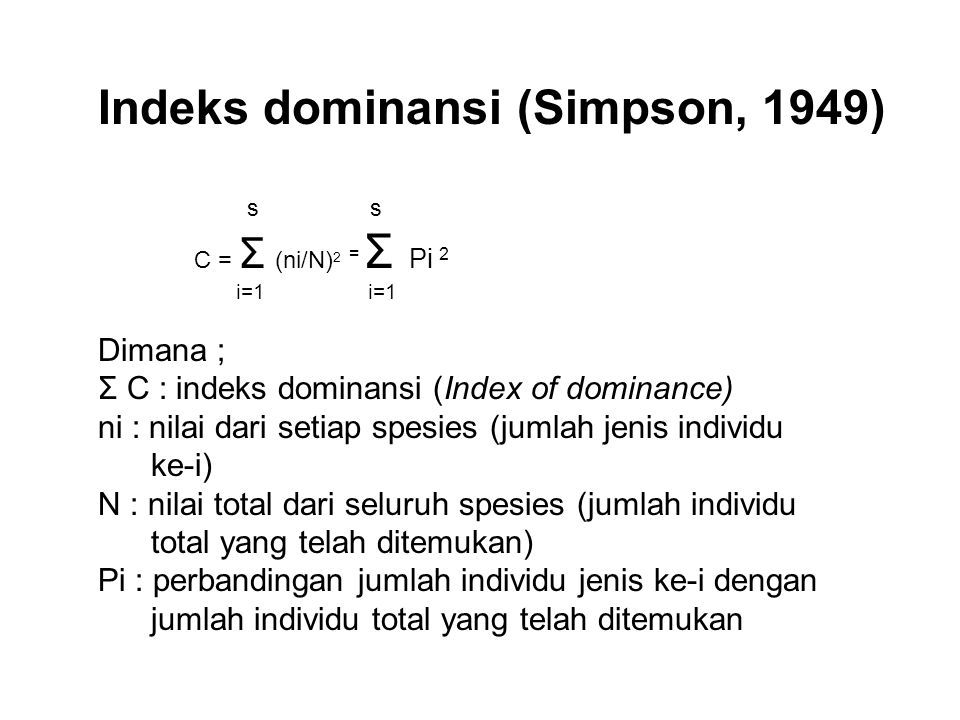 Indeks dominansi (Simpson, 1949)