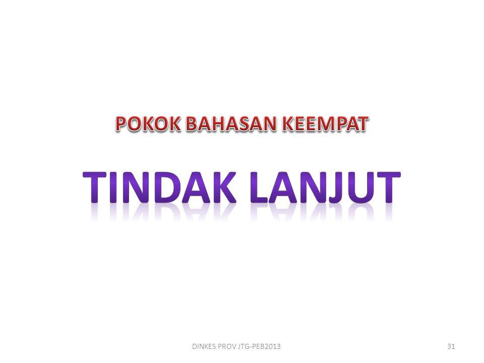 POKOK BAHASAN KEEMPAT Tindak lanjut DINKES PROV JTG-PEB2013