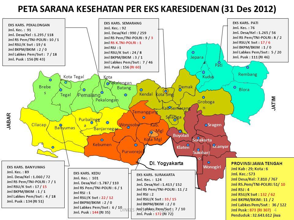 PETA SARANA KESEHATAN PER EKS KARESIDENAN (31 Des 2012)