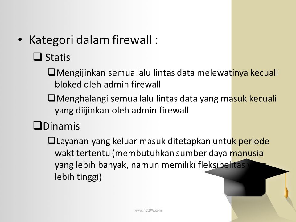 Kategori dalam firewall :