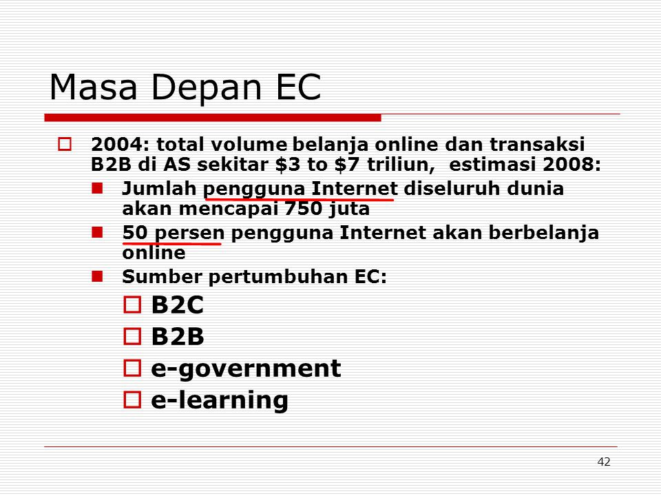 Masa Depan EC B2C B2B e-government e-learning