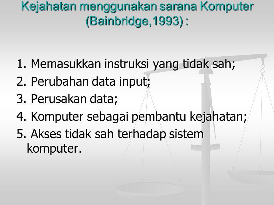 Kejahatan menggunakan sarana Komputer (Bainbridge,1993) :