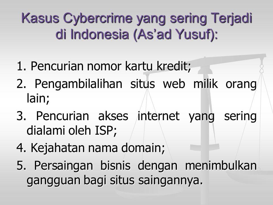 Kasus Cybercrime yang sering Terjadi di Indonesia (As'ad Yusuf):