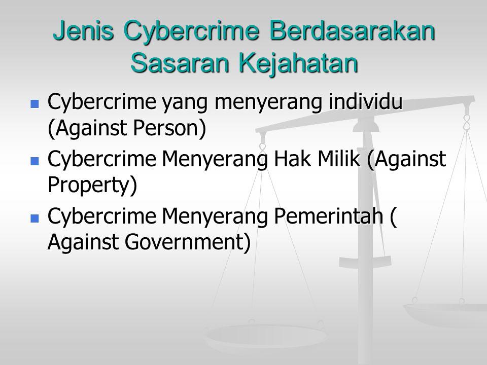 Jenis Cybercrime Berdasarakan Sasaran Kejahatan