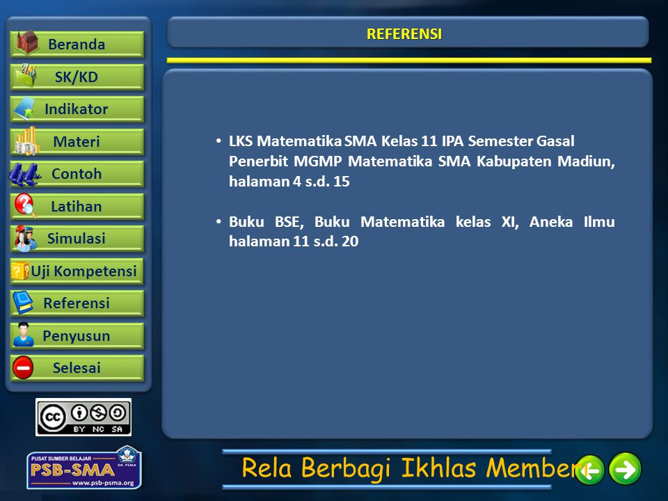 REFERENSI LKS Matematika SMA Kelas 11 IPA Semester Gasal. Penerbit MGMP Matematika SMA Kabupaten Madiun, halaman 4 s.d. 15.