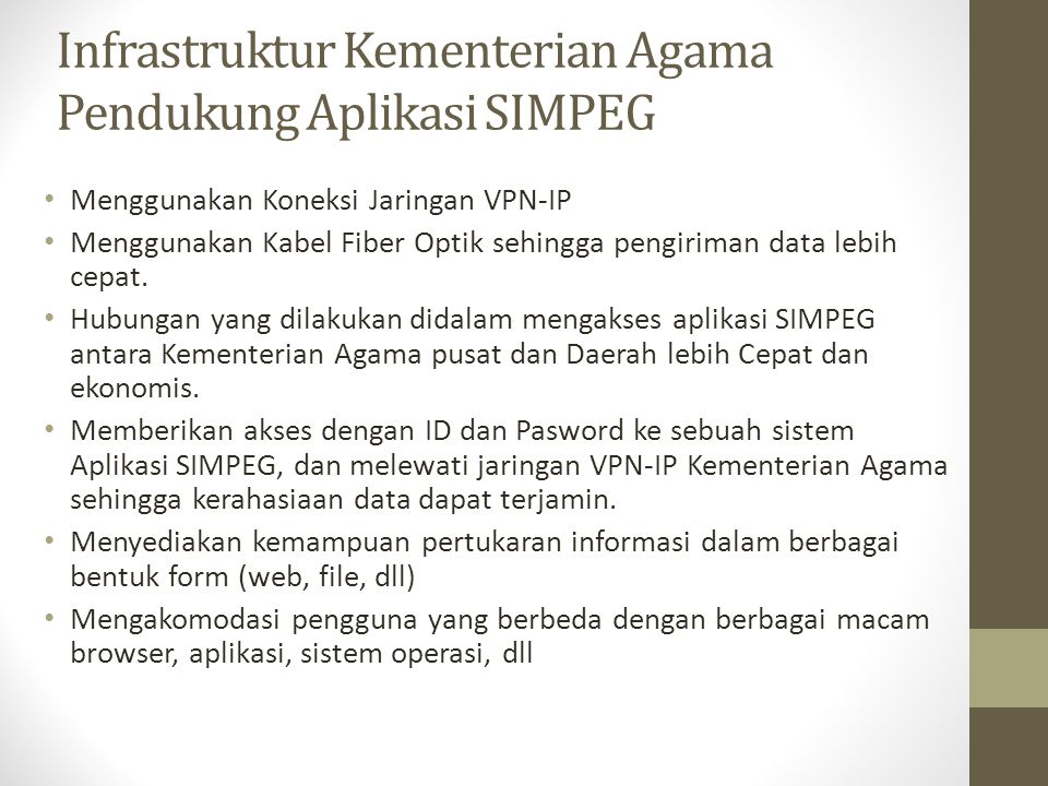 Infrastruktur Kementerian Agama Pendukung Aplikasi SIMPEG