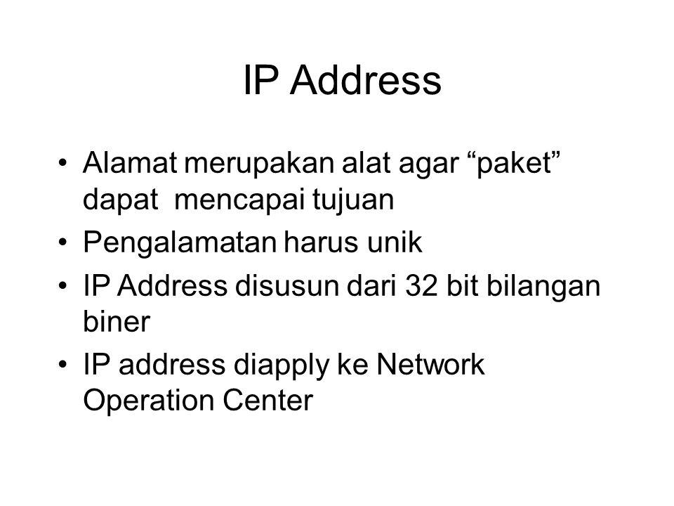 IP Address Alamat merupakan alat agar paket dapat mencapai tujuan