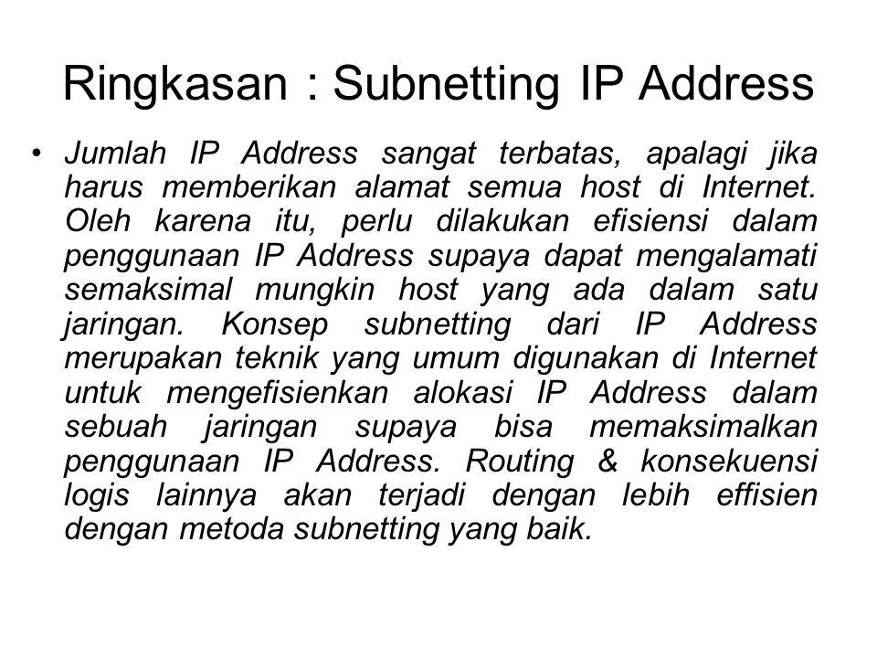 Ringkasan : Subnetting IP Address