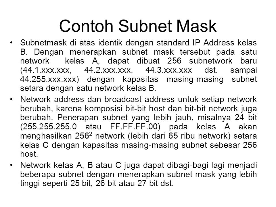 Contoh Subnet Mask