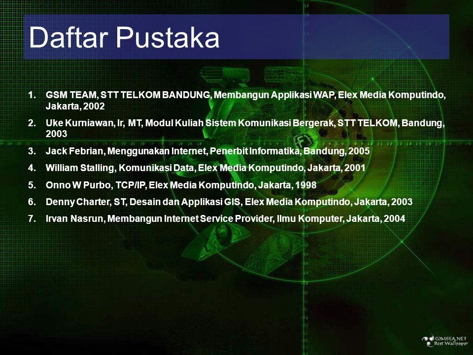 Daftar Pustaka GSM TEAM, STT TELKOM BANDUNG, Membangun Applikasi WAP, Elex Media Komputindo, Jakarta, 2002.